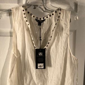 Cream and gold tank with rivet NWT